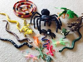 Toy snakes, lizards, spiders etc