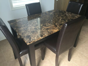 Faux Marble Dining Table + 4 Chairs