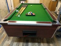 Pool table, balls, cues, on wheels for ease of moving, 7ft x4ft