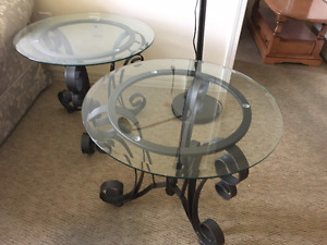 Two Glass & Metal Living Room End Tables