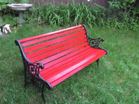 Vintage Red & Black Cast Iron Legs Wood Patio Bench