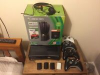 X box 360 s bundle with games and 4 wireless controllers