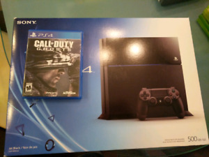 PlayStation 4 with 2 controllers and call of duty ghosts