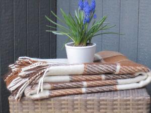 Classic Natural Wool/Alpaca Plaid New Blanket