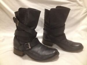 Steve Madden 'Brewzer' Slouchy Black Leather Moto Boots 10M