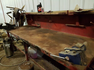 Used Large Metal Work Bench 8' x 2.5' x 3'