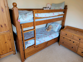 Free - bunk bed, chest of drawers and wardrobe.