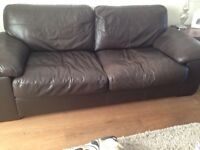 Brown real leather 3 seater sofa