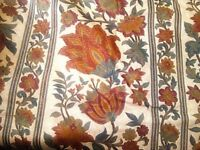 Pair of new curtains - cotton, fully lined Beige background, red/green floral pattern.