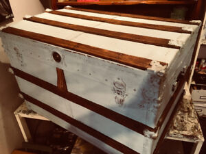Refinished baby blue steamer trunk