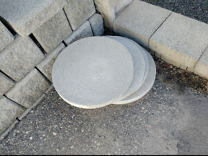 "Cement lawn stepping stones, 17"" circular for sale."