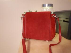 White House Black Market red velvet gold purse