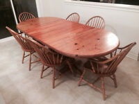 DOUBLE PEDESTAL SOLID PINE TABLE & CHAIRS