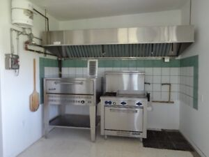 """MKE-36"""" gas fired pizza oven and gas stove with full cheminy"""
