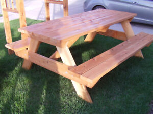Picnic table, arbors, planters