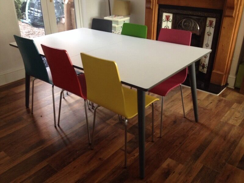 Reduced john lewis 6 8 seater luna dining table and 6 for Fantastic furniture dining table 8 seater