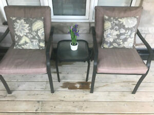 Patio balcony bistro set table, chairs, cushions and pillows