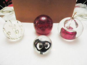 4 Hand blown Glass / Crystal Ball / Paper Weights