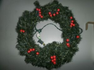 Christmas lights and wreaths