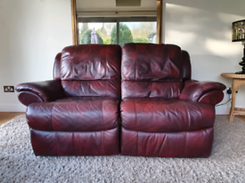 DELIVERY INCLUDED thick leather hide 2 seater electric recliner sofa