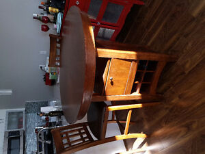 Bar height table and stools