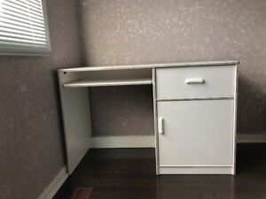 White Computer Desk with Drawers & Bookcase