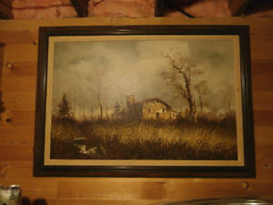 RUSTIC LANDSCAPE PAINTING SIGNED HUNTER