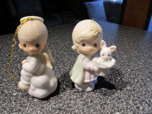 Precious Moments Christmas ornaments.