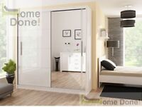 **14-DAY MONEY BACK GUARANTEE**- Top Seller! Victor Sliding Luxury Wardrobe in Black and White