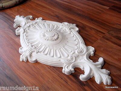 Stucco-  elegant stilvolle Stuckosette oval verziert Blumen 60 x 30 aus Stuck