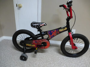 """Spiderman bike with 16"""" tires and training wheels"""