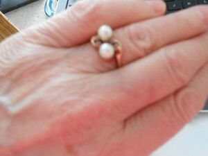 Vintage Gold Ring with Cultured Pears and Rubies