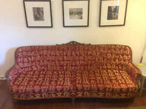 VINTAGE COUCH WITH VERSACI SILK FABRIC