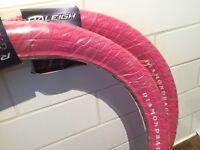 Diamond back Raleigh BMX pink freestyle tyres