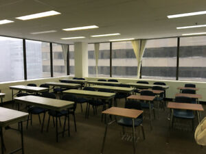 Classroom/office furniture: desks, chairs, whiteboards!