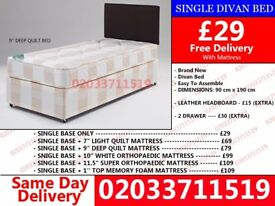 BRAND NEW SINGLE DIVAN BED AVALIBLE WITH MATTRESS