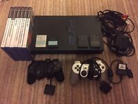 Sony PlayStation 2 Black Console 4 Memory Cards 2 Controllers Games Magic Eye