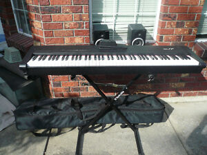 ROLAND FP 1 DIGITAL PIANO KEYBOARD W  BENCH  STAND, SPEAKERS