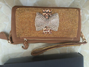 Brown leather wallet clutch with swarovski crystals diamonds