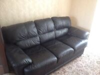 BARGAIN!! - 3 Piece suite - Black leather - Will split if required