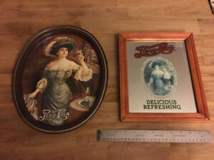 Pepsi Tray and Framed Mirror