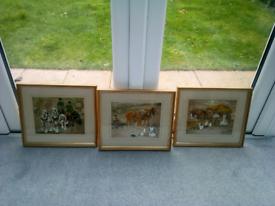 3 pictures . Working horses. 38 cm. X 33 cm.