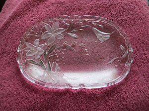 Glass plate with lilies - Newmarket area