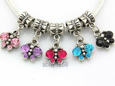 Antique Crystal Charm Bracelet (20pcs Antique Silver Tone Butterfly Dangle Charms Inlay Crystal Fit Bracelet H23 )