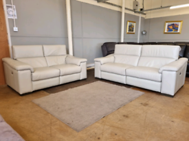 Harvey's real leather powered electric recliner sofas