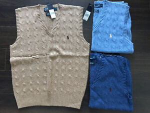 Polo Ralph Lauren Cable Knit Sweater Vest Small $98 EACH OBO