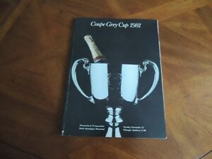 1981 Grey Cup Program, sticker & Button with Ribbons