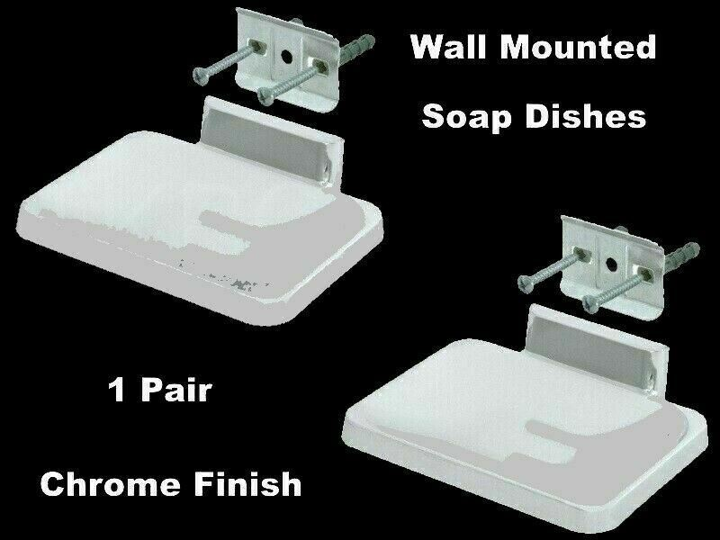 BATHROOM SOAP DISHES (1 Pair) Polished Chrome Finish Wall Mounted Silver Holder