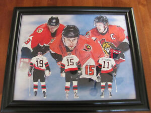 FRAMED OTTAWA SENATORS WATERCOLOR PRINT
