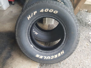 Two 215/70R14 Hercules HP 4000 White Lettered A/S